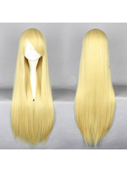Charming Long Straight Golden Cosplay Wig 30 Inches