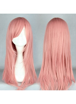 Japanese Middle Straight Rose Pink Cosplay Wigs 22 Inches