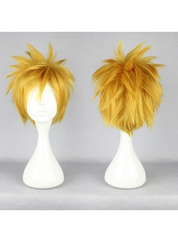 Short Spiky Straight Golden Synthetic Hair Cosplay Wigs