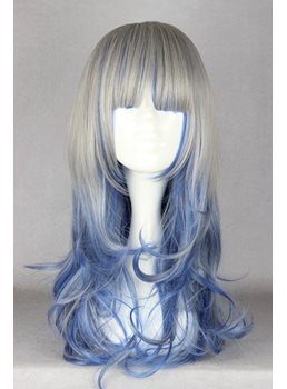 Japanese Lolita Style Gradient Color Long Wave Cosplay Wigs 24 Inches