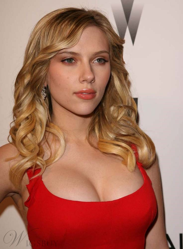 Scarlett Johansson Long Curly Lace Front Human Hair Wig 16 Inches