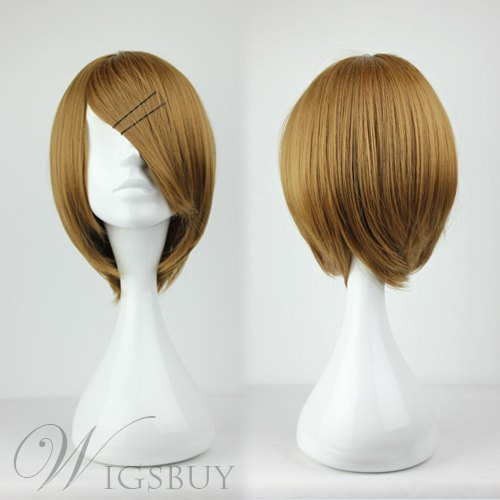 Top Quality Medium Straight Brown Cosplay Wig 12 Inches