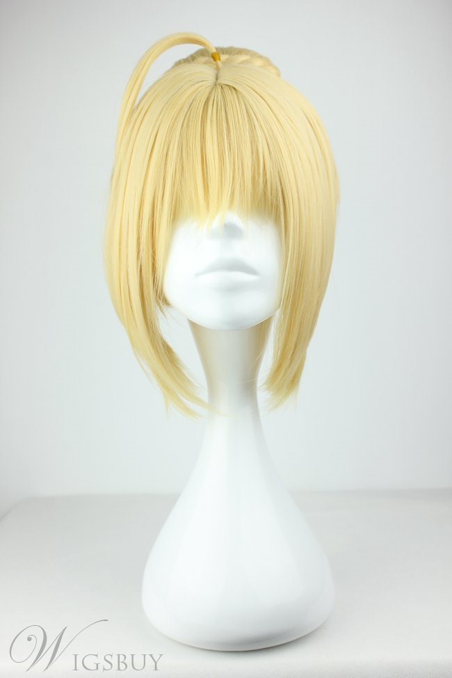 Fate Zero Saber Braided Hairstyle Light Golden Synthetic Hair Cosplay Wig