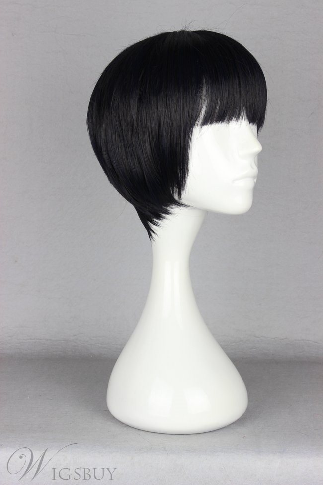 Simple Short Straight Black Synthetic Hair Cosplay Wig with Full Bang