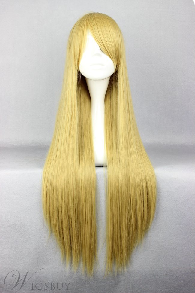 Hokage Tsunade Hairstyle Long Straight Flaxen Cosplay Wig 30 Inches