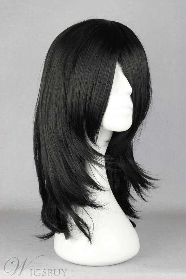 Natural Black Straight Synthetic Cosplay Wigs 18 Inches