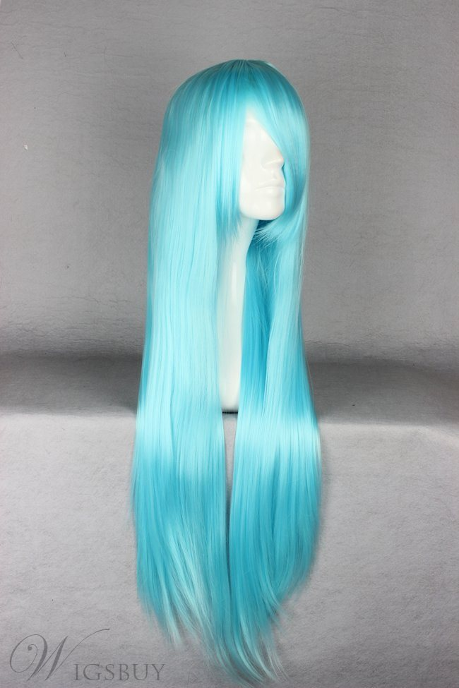 Versatile Long Straight Blue Cosplay Wig 30 Inches