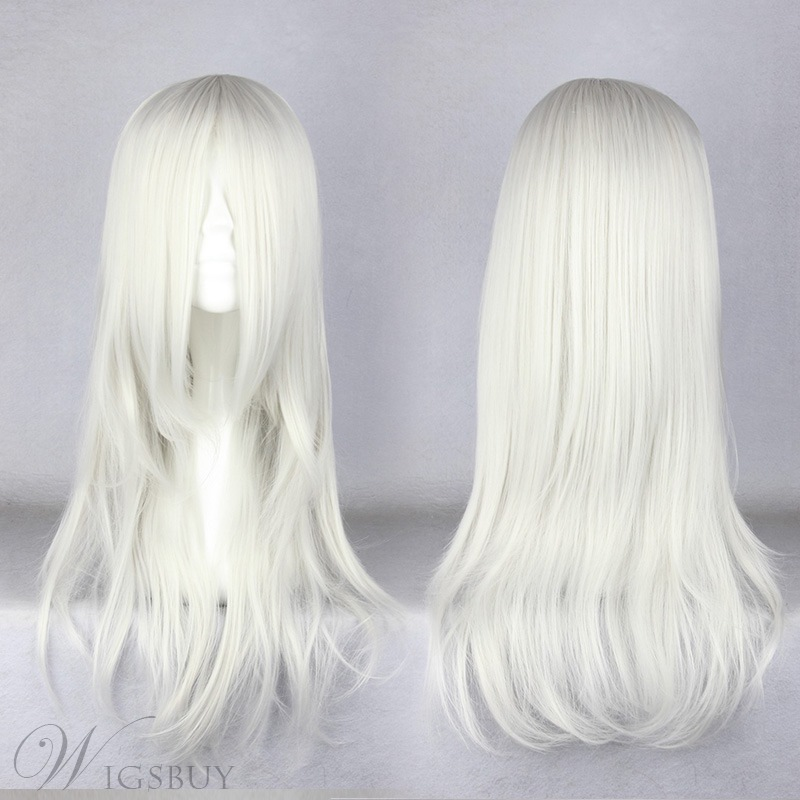 Japanese Sephiroth Style Long Straight White Cosplay Wigs