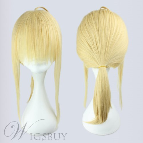 Fate Zero Saber Light Golden Synthetic Hair Cosplay Wig