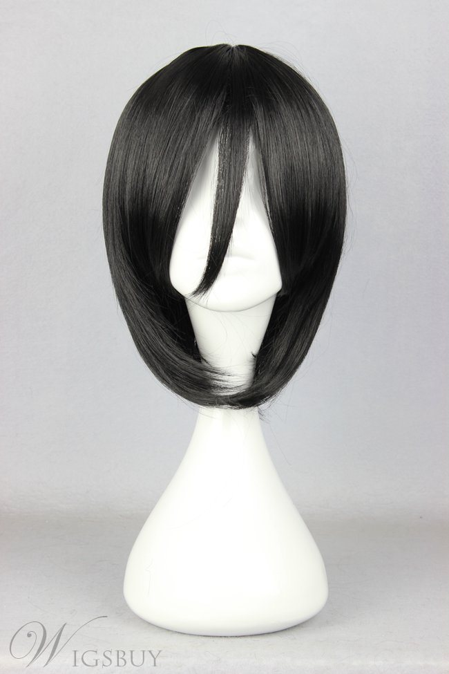 Japanese Shingeki no Kyojin Series Black Short Straight Cosplay Wigs