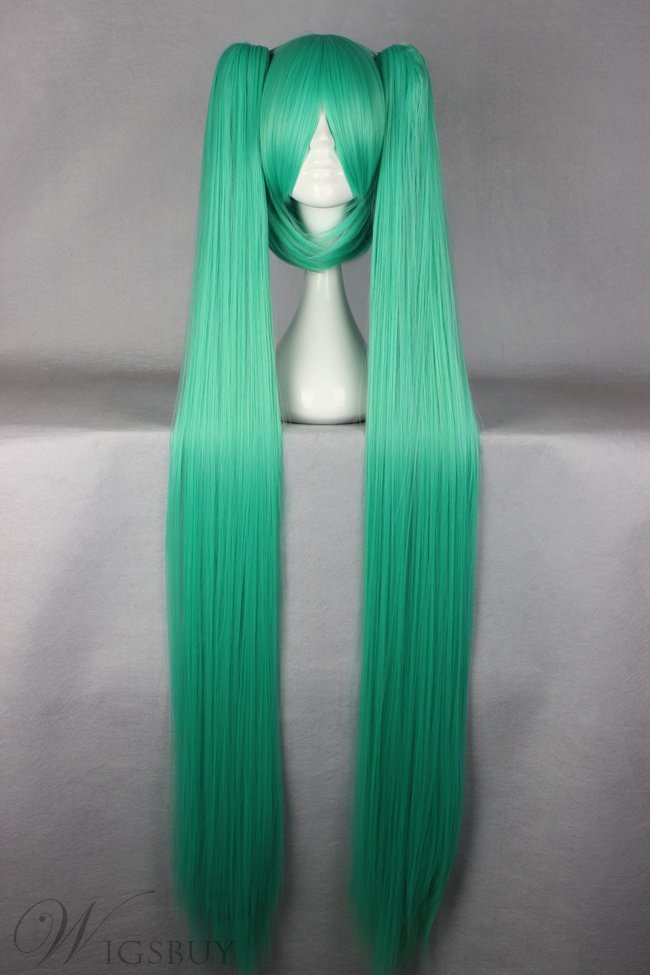 Vocaloid Miku Hair Light Green Long Straight Synthetic Cosplay Wig with Ponytails 50 Inches