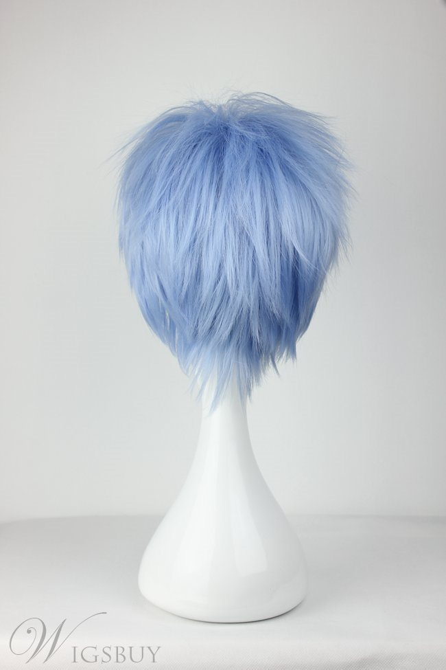 Cool Light Blue Spiky Straight Synthetic Hair Cosplay Wig