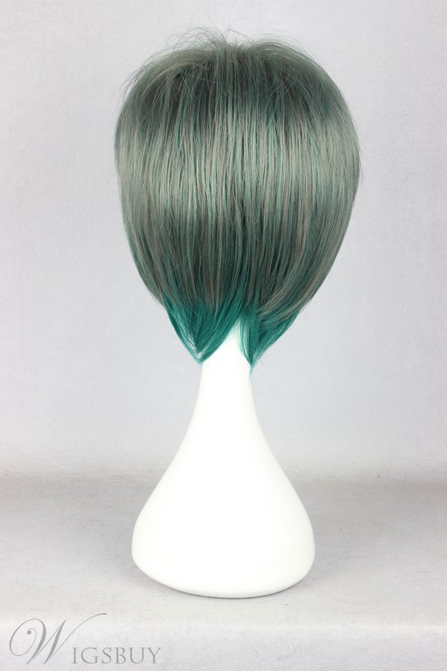 Japanese Lolita Style Gradient Color Green and Blue Cosplay Wigs 12 Inches