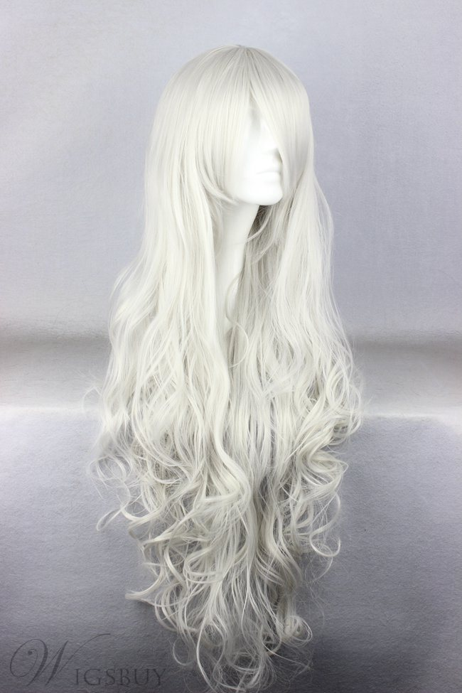 Super Long Curly White Synthetic Hair Cosplay Wigs 36 Inches