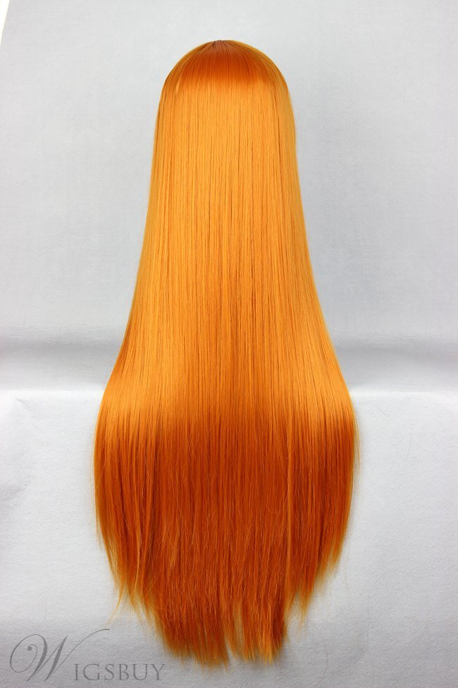 Soryu Asuka Langley Hairstyle Long Straight Orange Cosplay Wig 30 Inches