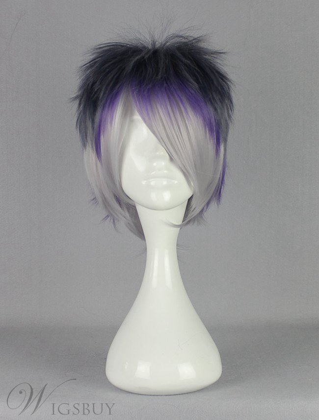 Diabolik Lovers Black Purple Silver Mixed Synthetic Hair Cosplay Wig