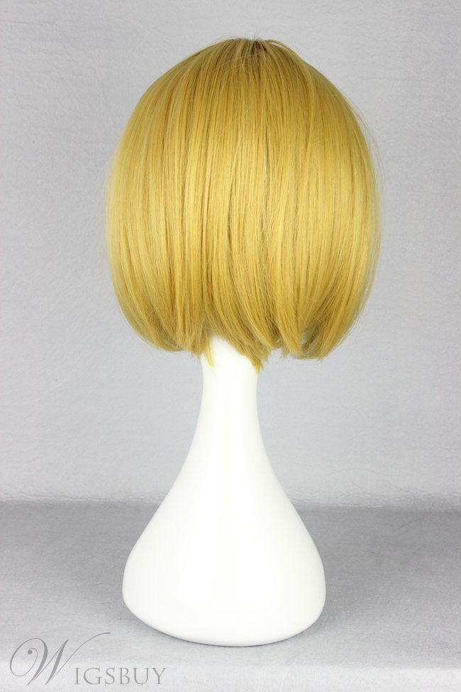 Japanese Shingeki no Kyojin Series Arnold Style Golden Color Short Straight Cosplay Wigs 12 Inches