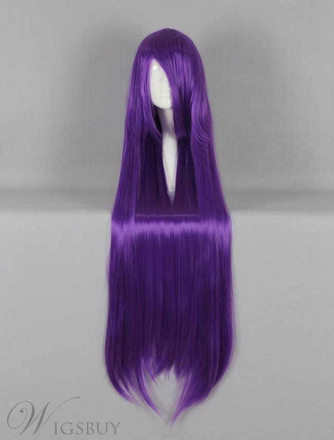Versatile Long Straight Purple Cosplay Wig 30 Inches
