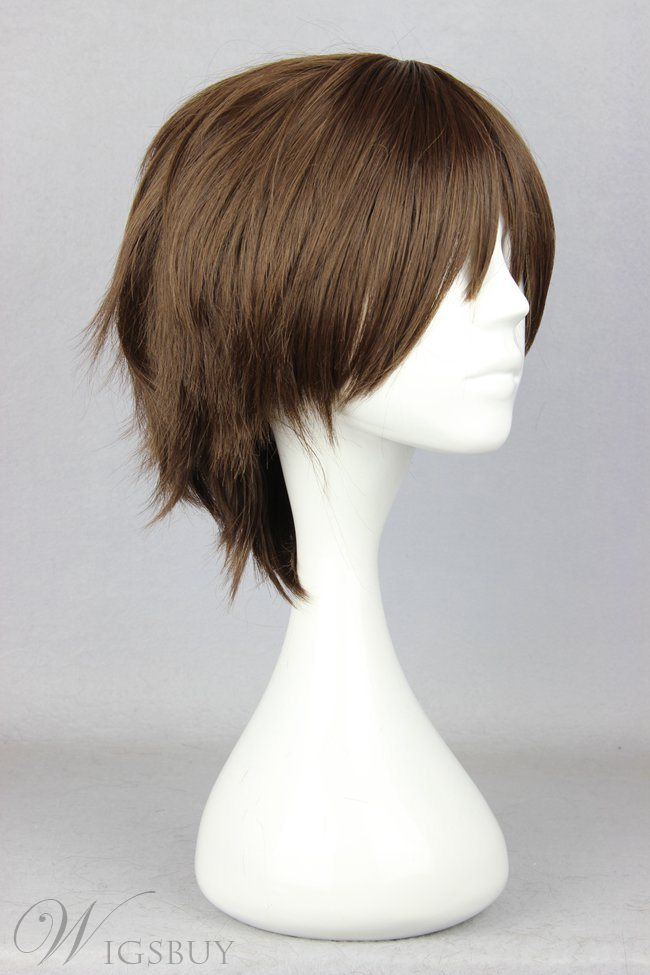 Japanese Shingeki no Kyojin Series Dark Brown Short Straight Cosplay Wigs 12 Inches