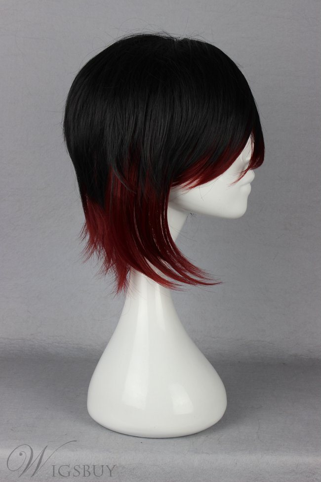 Ruby Rose Hairstyle Long Straight Mixed Color Cosplay Wig 12 Inches