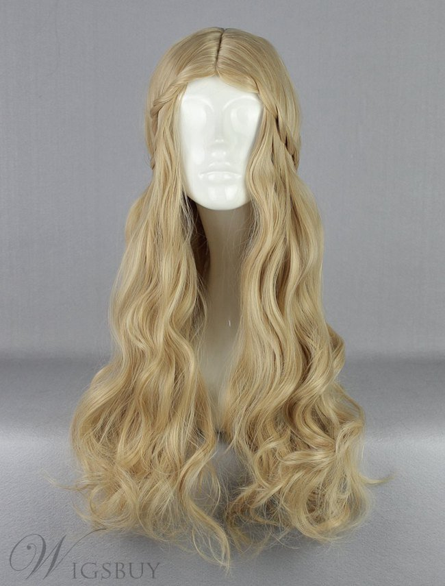 Princess Aurora Long Deep Wave Hairstyle Flaxen Cosplay Wig 28