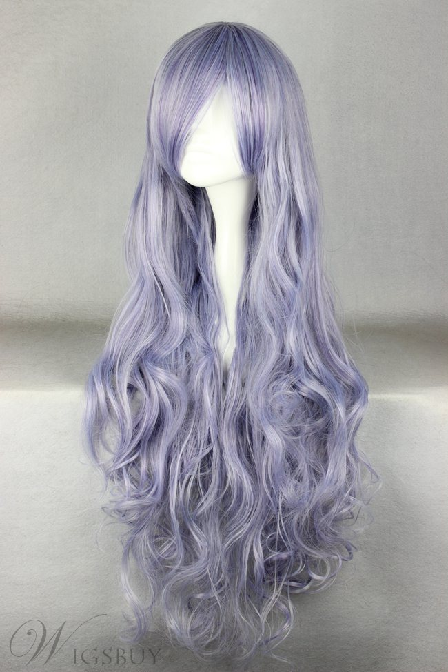 Super Long Curly Light Purple Synthetic Hair Cosplay Wigs