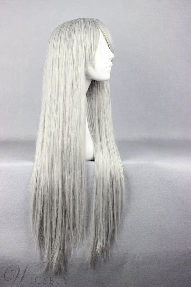 Final Fantasy Series Sephiroth Hairstyle Long Straight Silver Cosplay Wig 30 Inches