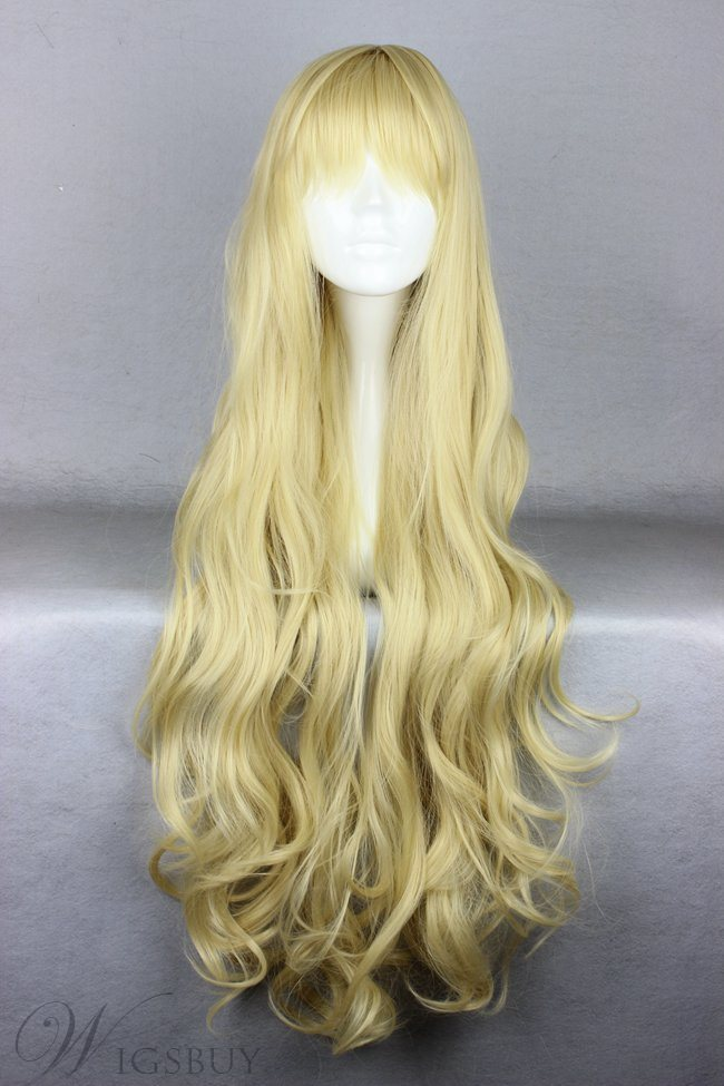 Super Long Curly Blonde Synthetic Hair Cosplay Wigs 36 Inches