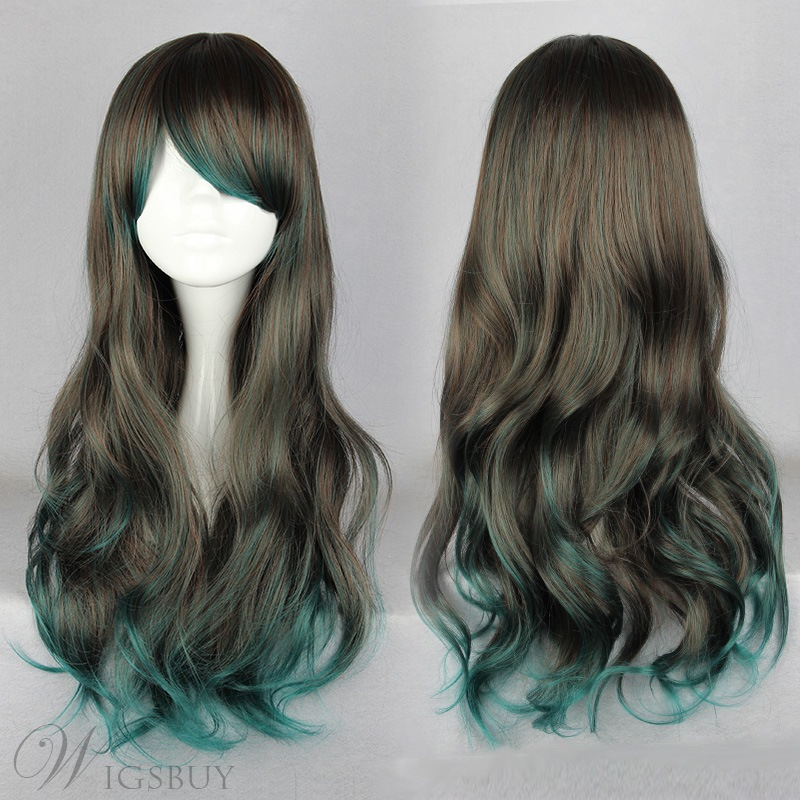 Japanese Lolita Style Gradient Color Black and Green Cosplay Wigs 26 Inches
