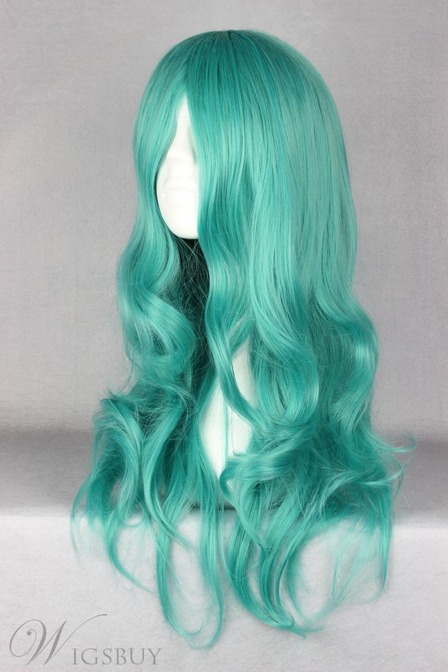 Cheap Long Wavy Green Synthetic Hair Cosplay Wig 26 Inches