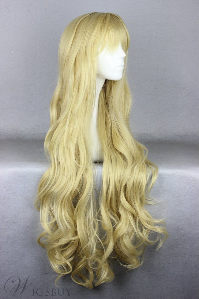 Super Long Curly Blonde Synthetic Hair Cosplay Wigs 36