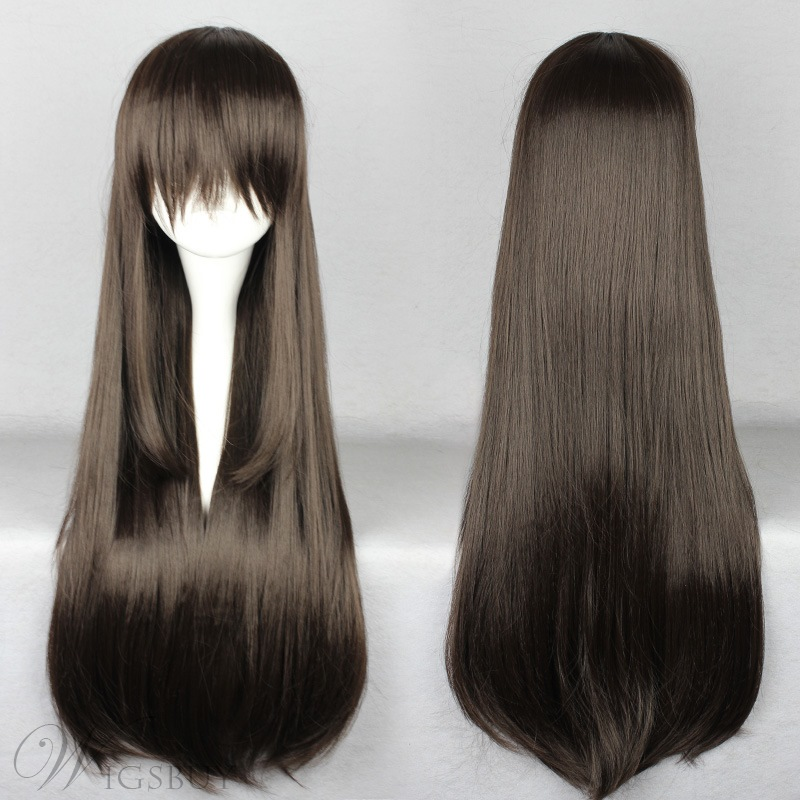 Top Quality Long Straight Dark Brown Cosplay Wig 30 Inches