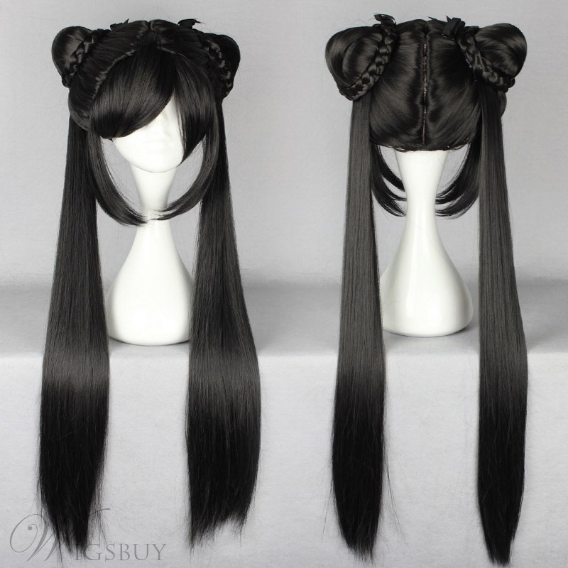 Glamorous Long Straight Ancient Beauty Hairstyle With Ponytails Black Cosplay Wig 30 Inches