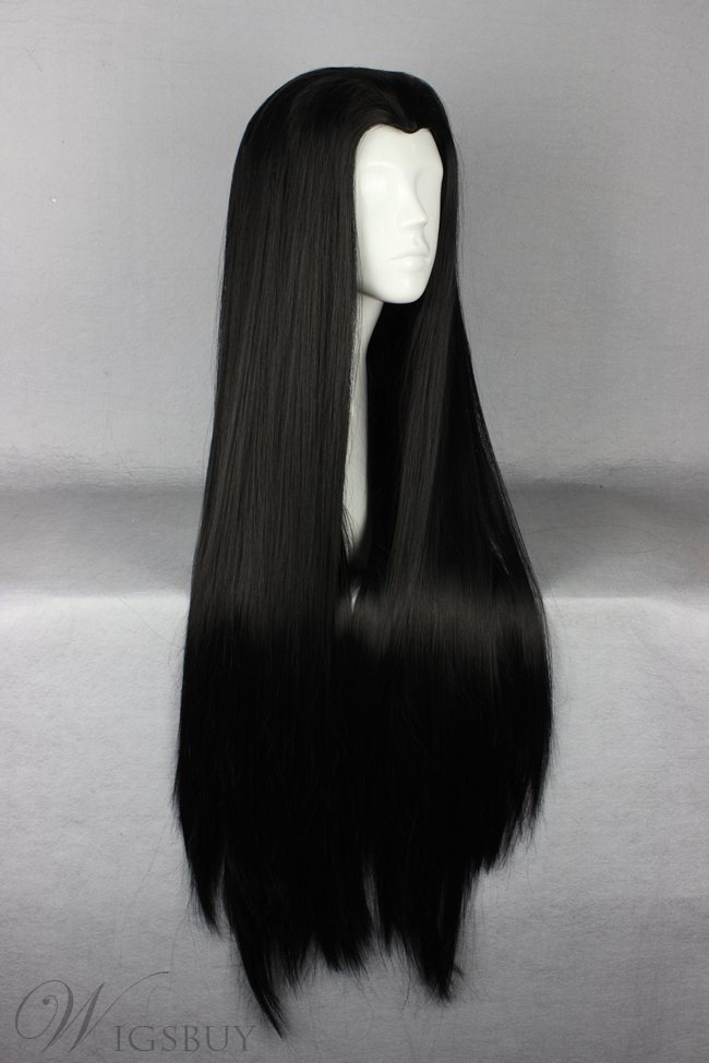 Lily Munster Hairstyle Long Straight Black Cosplay Wig 30 Inches