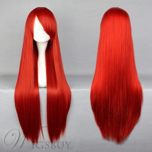 Musujime Awaki Hairstyle Long Straight Red Cosplay Wig 30 Inches