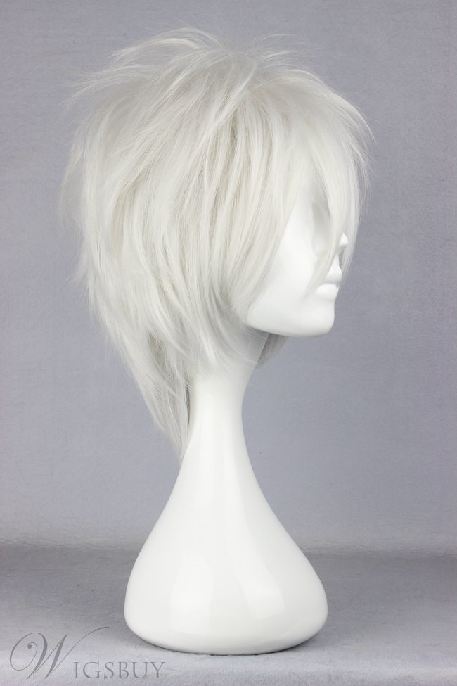 Silver Hairstyle Short Layered Straight Cosplay Wig 10 Inches