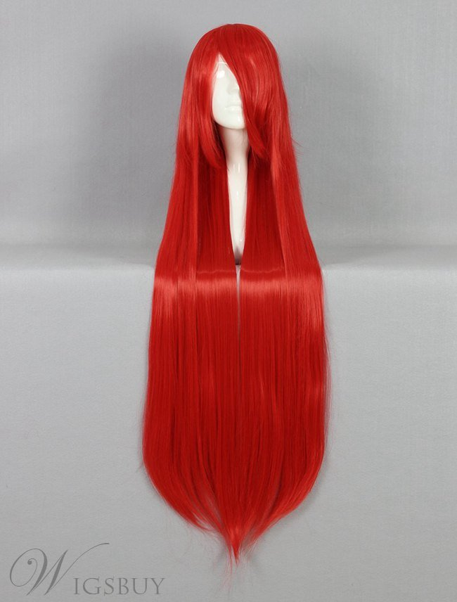 Attractive Long Straight Red Cosplay Wig 30 Inches