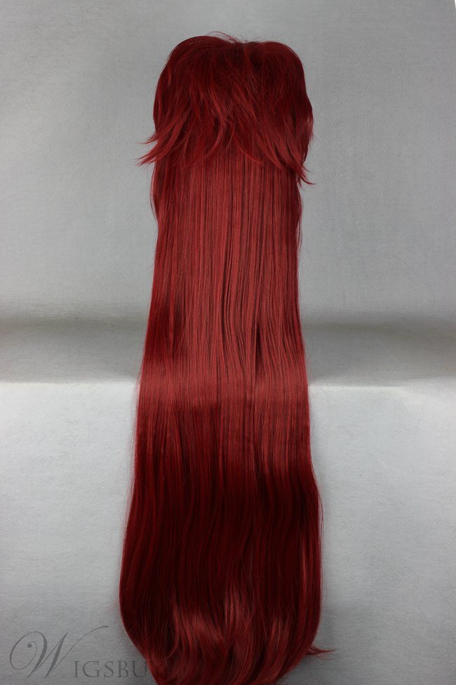 Japanese Gray Series Long Straight Wine Red Cosplay Wigs 40 Inches