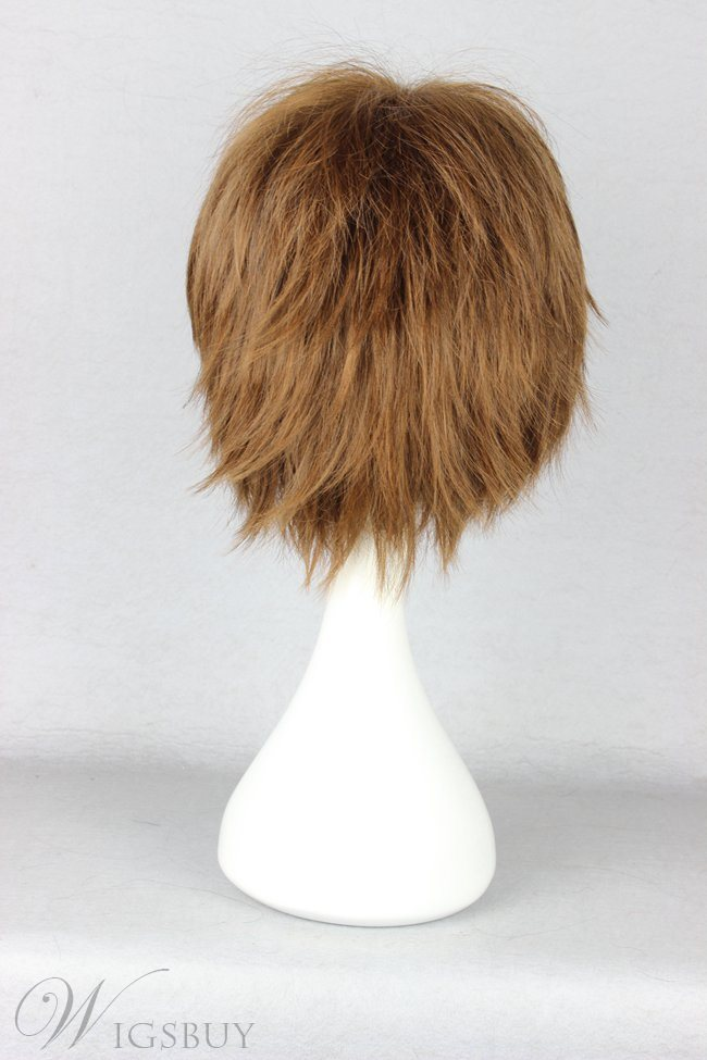 New Arrival Short Layered Straight Mixed Brown Cosplay Wig 10 Inches