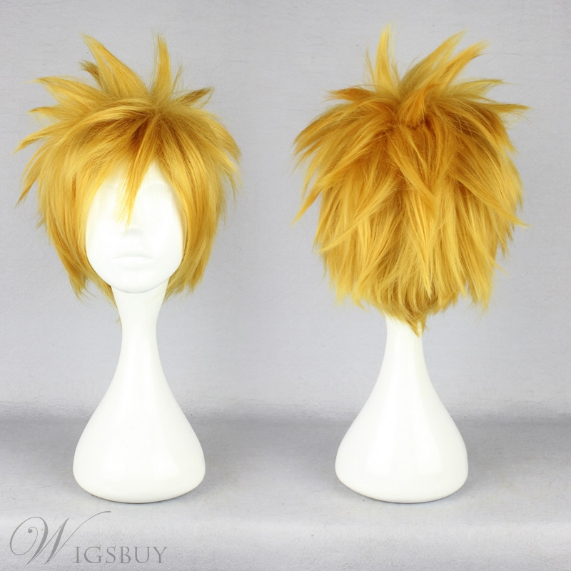 13/'/' Spiky Short Golden Blonde Synthetic Cosplay Wig NEW