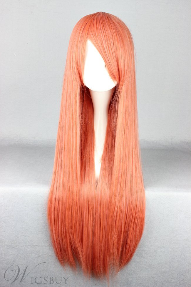 New Arrival Versatile Long Straight Orange Cosplay Wig 30 Inches