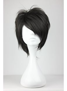Arcana Famiglia Jolly Black Layered Straight Synthetic Hair Cosplay Wigs