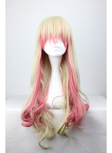 Macross Ciel Hairstyle Long Wavy Blonde with Pink Mixed Cosplay Wig 28 Inches