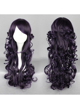 Japanese Lolita Style Long Wave Black Color Cosplay Wigs 26 Inches
