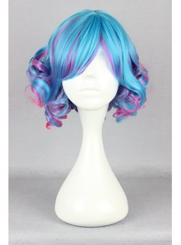 Japanese Lolita Style Mixed Color Blue and Pink Cosplay Wigs 12 Inches
