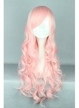 Japanese Lolita Style Long Wave Pink Color Cosplay Wigs 28 Inches