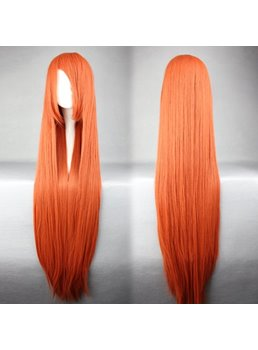 Soryu Asuka Langley Hairstyle Long Straight Orange Synthetic Cosplay Wig 30 Inches