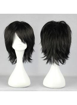 Lelouch Lamperouge Hairstyle corto dritto nero Cosplay parrucca 14 pollici