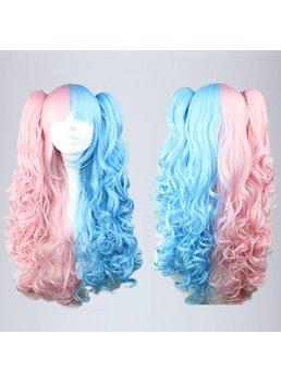 Cute Lolita Hairstyle Long Curly Pink with Blue Mixed Color Cosplay Wigs 28 Inches