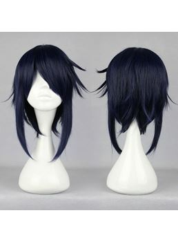 K Munakata Reiji coiffure cheveux synthétique bleue Cosplay Wig 16 pouces